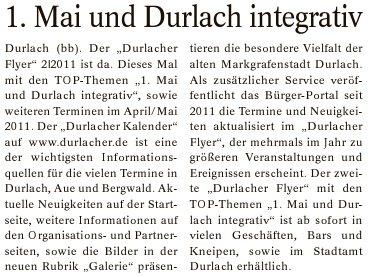 Boulevard Baden - Ausgabe Durlach und Umgebung | 17. April 2011