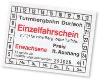 Fahrkarte Turmbergbahn Durlach