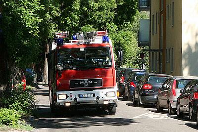 Freiwillige Feuerwehr Durlach im Einsatz. Foto: om