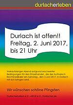 Durlach ist offen!! Verkaufslanger Abend am 2. Juni 2017