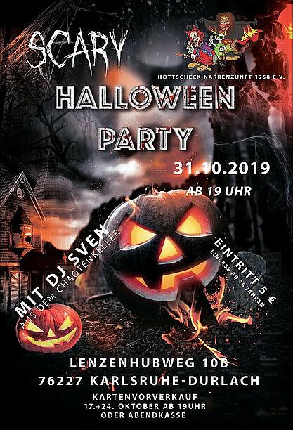 Scary Halloween Party 2019 der Hottscheck Narrenzunft. Grafik: pm