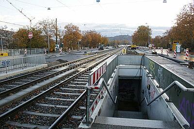 Aktuelle Baustelle der Haltestelle Untermühlstraße. Fotos/Plan: pm