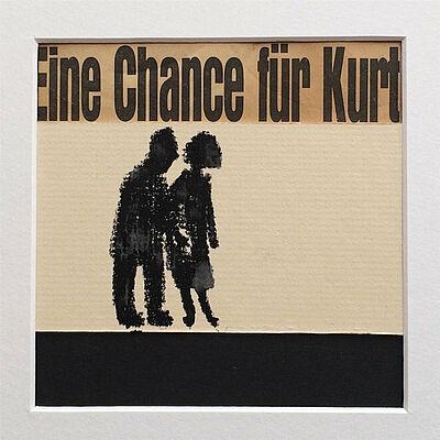 """Katja Wittemann, """"Eine Chance für Kurt"""", Collage, Kreide auf Karton, 12x12 cm, 2018. Foto: zettzwo"""