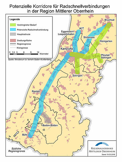 Potenzielle Korridore für Radschnellverbindungen in der Region Mittlerer Oberrhein. Grafik: pm