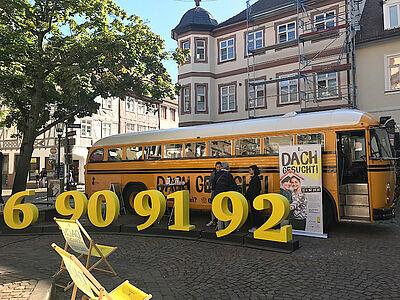 """Das """"Dach Gesucht!""""-Mobil macht Halt in Durlach. Foto: pia"""