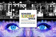 """SCHLOSSLICHTSPIELE Karlsruhe Digitale Edition 2020 mit den beiden neuen Shows """"Changes³"""" von Rüstungsschmie.de (oben) und """"Attitude Indicator"""" von TNL (unten). Grafik: pm"""