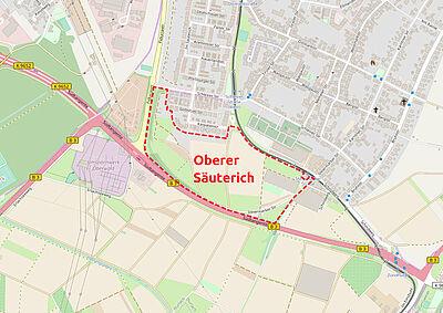 Rahmenplan für künftiges Wohnquartier soll bis Sommer erarbeitet werden. Karte: © OpenStreetMap-Mitwirkende / Bearbeitung: cg