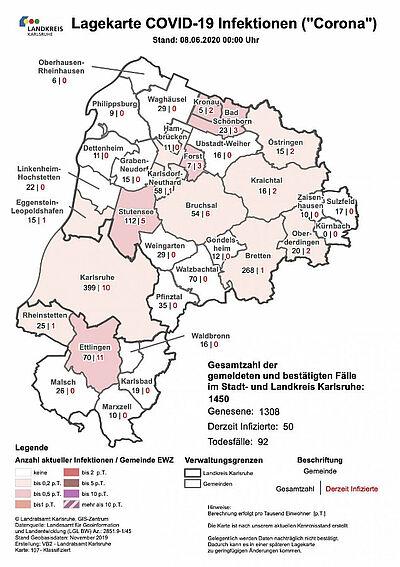 Gesamtzahl der gemeldeten und bestätigten Fälle im Stadt- und Landkreis Karlsruhe (Stand: 8. Juni 2020). Grafik: Landratsamt Karlsruhe
