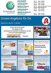 Rundum gesund Apotheken: Aktionen und Angebote im August 2018. Grafik: pm