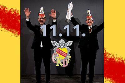 """Die Durlacher Oberfastnachter, Torsten Holzwarth (r.) und Dominik Pirogow (l.), wünschen zum Start in die neue Kampagne ein dreifach kräftiges """"Dorlach, Helau!"""". Grafik: pm/cg"""