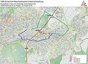 Verkehrsführung während der Sperrung der Durlacher Alle vom 20. bis 27. August. Grafik: TBA / Fotos: VBK