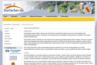 Informationen zur Datenschutz-Grundverordnung. Screenshot: om
