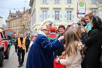 OKDF-Präsident Torsten Holzwarth beim Durlacher Fastnachtsumzug im vergangenen Jahr. Foto: cg