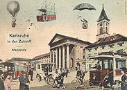 Historische Grafik zeigt Zukunftsvision zum Karlsruher Marktplatz. Quelle: Stadtarchiv Karlsruhe