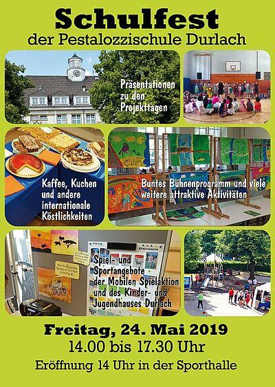 Schulfest 2019 der Pestalozzischule. Grafik: pm