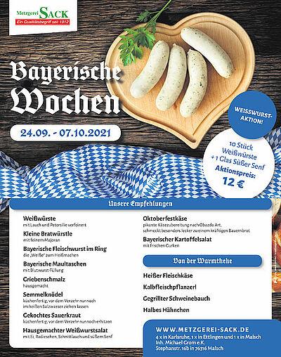 Bayerische Wochen mit Weißwurst-Aktion bei Metzgerei Sack. Grafik: pm