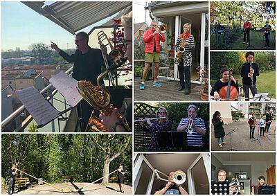 Die Musikerinnen und Musiker des Musikforums Durlach erfreuen mit Balkonkonzerten ihre Nachbarschaft. Fotos: pm