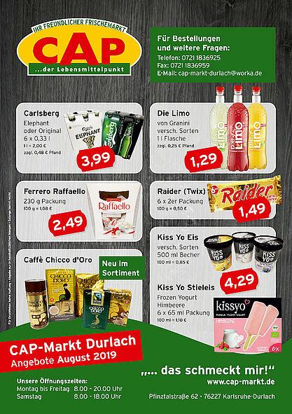 CAP-Markt Durlach: Angebote im August 2019. Grafik: pm