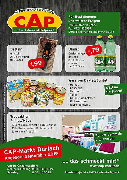 CAP-Markt Durlach: Angebote im September 2019. Grafik: pm