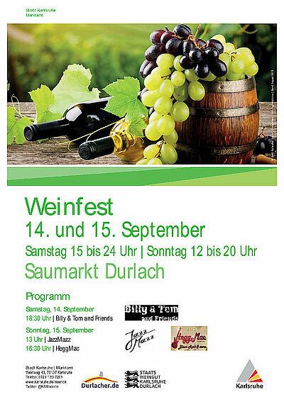 12. Durlacher Weinfest auf dem Saumarkt. Grafik: pm