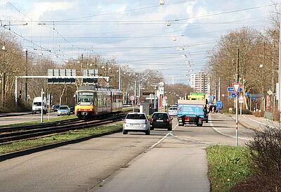 Haltestelle Untermühlstraße auf der Durlacher Allee. Foto: cg
