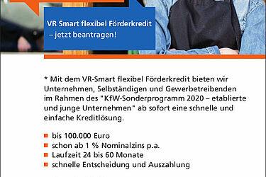 Volksbank: Corona-Soforthilfe für Ihr Unternehmen. Grafik: pm