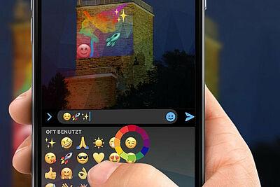 Die Turmfassade auf dem Turmberg digital mitgestalten: Mit der von Alexander Liebrich und Marco Zampella programmierten App kann nach Einbruch der Dunkelheit an der audiovisuellen Präsentation mitgearbeitet werden. Grafik: Seasons of Media Arts / Liebich, Zampella