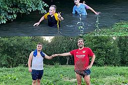 Trainer und Spieler beim Pfinz-Walk der Outdoor-Trainingseinheit. Foto: pm