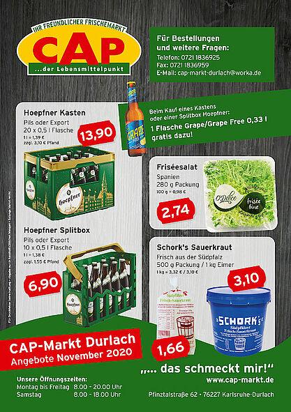 CAP-Markt Durlach: Angebote im November 2020. Grafik: pm