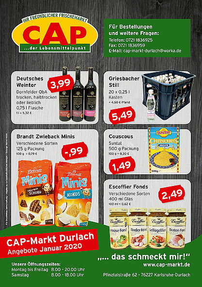 CAP-Markt Durlach: Angebote im Januar 2020. Grafik: pm