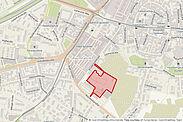 Die neue Planung sieht die Erhaltung der Öffnung des Hofes in Richtung Grünzone/Turmberg vor. Grafik: cg / Karte: OpenStreetMap-Mitwirkende