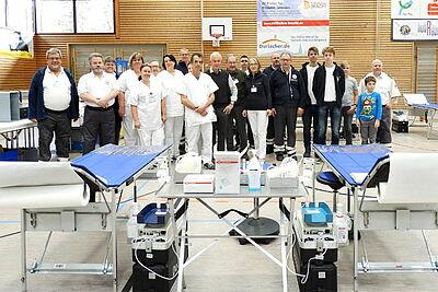 Das Blutspende-Team in der Durlacher Weiherhofhalle. Foto: pm