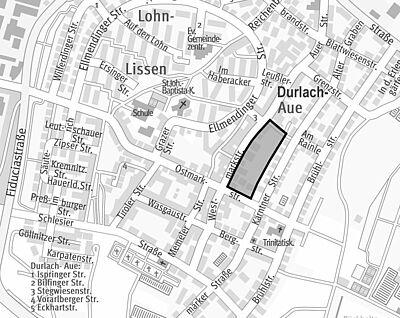 Durlach-Aue: Stadt stellt neuen Bebauungsplan auf. Skizze: Stadtplanungsamt