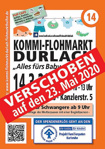 """Wird verschoben: 14. Durlacher Kommissionsflohmarkt """"Alles vom Baby bis zum Kind"""" Grafik: pm"""