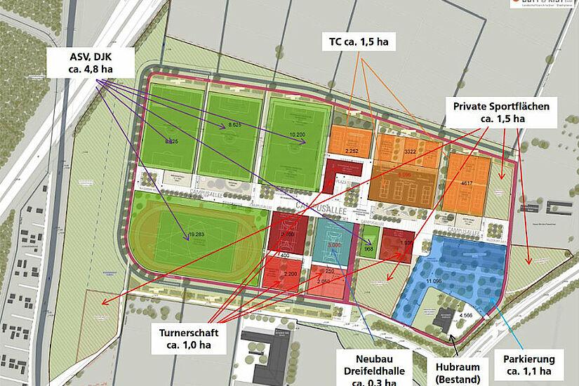 Darstellung der geplanten Flächenbedarfe im Sport- und Freizeitcampus Durlach. Grafik: HDK Dutt & Kist / Stadt Karlsruhe