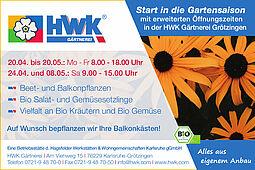 Erweitere Öffnungszeiten bei der HWK-Gärtnerei in Grötzingen. Grafik: pm