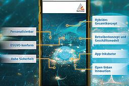 Entwicklung einer Multifunktions-App für Karlsruhe. Grafik: Stadt Karlsruhe / Hintergrundbild: Pixabay