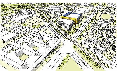 Möglicher IKEA-Standort aus der Vogelperspektive. Grafik: pm