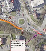 Schon wieder Baustelle am Kreisel in der Fiduciastraße. Die Bushaltestelle muss verlegt werden. Grafik: VBK