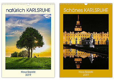 """""""natürlich KARLSRUHE"""" und """"Schönes KARLSRUHE"""" – Cover der Monatskalender. Fotos: pm"""