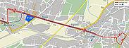 KAMUNA 2018: Fahrweg Durlach. Grafik: pm / Kartenmaterial: OpenStreetMap – Mitwirkende