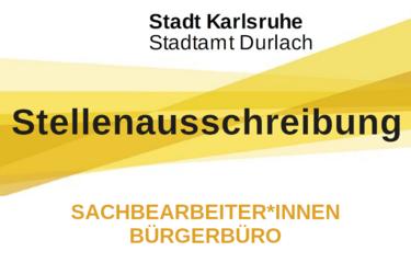 Stadtamt Durlach sucht Sachbearbeiter*innen Bürgerbüro. Grafik: Stadt Karlsruhe/cg