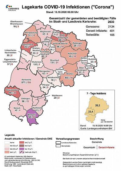 Lagekarte COVID-19: Aktuelle Zahlen aus der Stadt und dem Landkreis Karlsruhe – jetzt auch mit 7-Tage-Inzidenz (Stand: 16. Oktober 2020). Grafik: Gesundheitsamt Karlsruhe