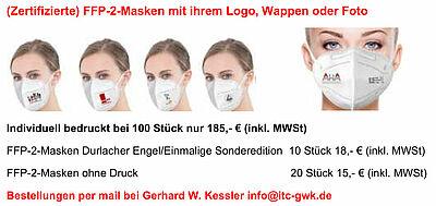 (Zertifizierte) FFP-2-Masken mit ihrem Logo, Wappen oder Foto. Grafik: pm