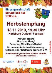 Herbstempfang 2019 der Bürgergemeinschaft Durlach und Aue. Grafik: pm