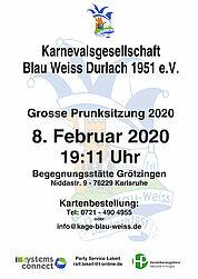 Karten gewinnen: Große Prunksitzung 2020 der KaGe Blau Weiss. Grafik: pm