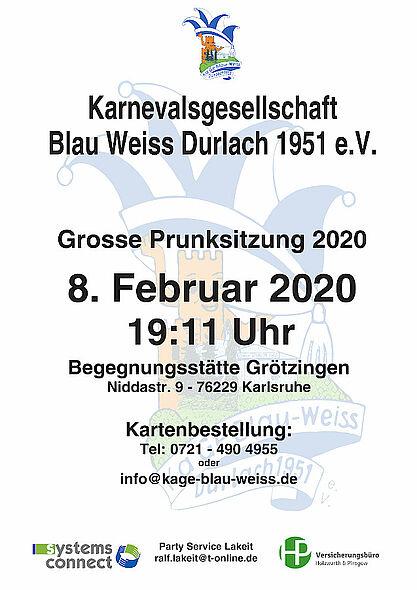 Große Prunksitzung 2020 der KaGe Blau-Weiss. Grafik: pm