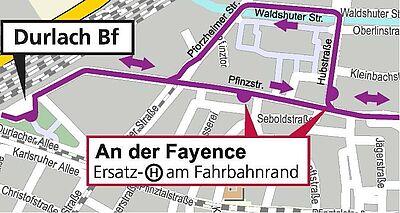 Umleitungsroute der Buslinie 31. Karte: OpenStreet Map – Mitwirkende / Fotos: om