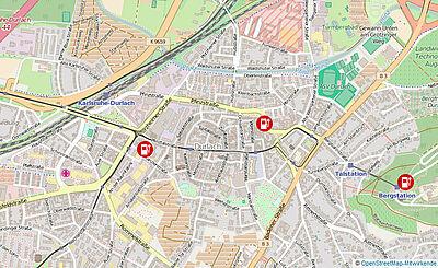 Strom-Tankstellen der Stadtwerke in Durlach. Kartengrundlage: OpenStreetMap-Mitwirkende