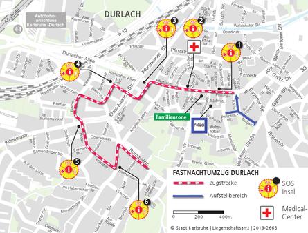 Fastnachtsumzug in Durlach: Umzugsstreckenplan (mit SOS-Inseln, Sanitätsdienst, Polizei und Familienzone). Grafik: Stadt Karlsruhe / Liegenschaftsamt